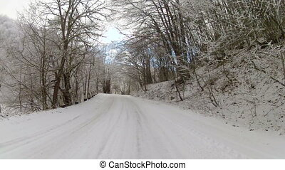 winter road after snowfall, Go Pro - fascinating journey...
