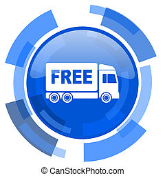 free delivery blue glossy circle modern web icon