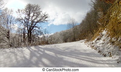 winding road in winter, Go Pro - the old road through the...
