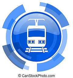 train blue glossy circle modern web icon