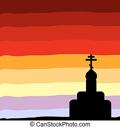 The Orthodox Church at sunset background. Vector...