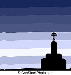 The Orthodox Church at sunset background Vector illustration...