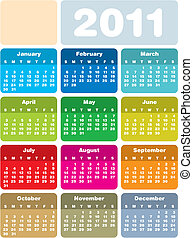 Colorful Calendar 2011 - Colorful Calendar for Year 2011, in...