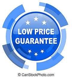 low price guarantee blue glossy circle modern web icon