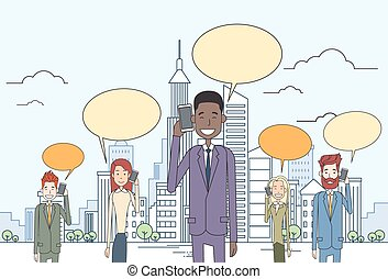 Businesspeople Group Smart Cell Phone Talk Chat Bubble...