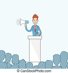 Businessman Hold Megaphone Loudspeaker Stand Tribune Speech...