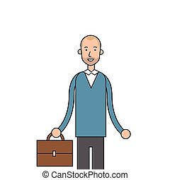 Businessman Smile Hold Briefcase Business Man Casual Vector...