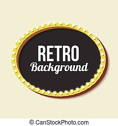 Retro frame circle with neon lights - Oval vintage frame...