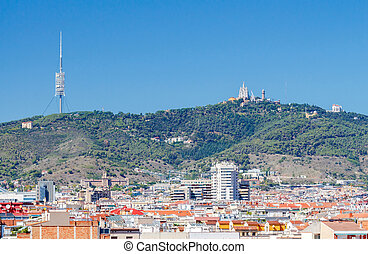 Barcelona Mountain Tibidabo - View of Barcelona and Tibidabo...
