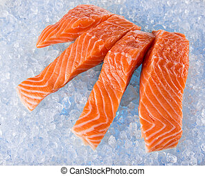 Salmon Fillets on Ice - Fresh Salmon Fillets on crushed ice,...