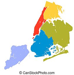 Five boroughs of NYC. - High resolution outline map of New...