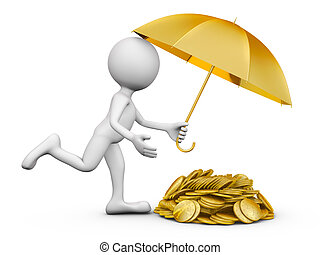 man with an umbrella and coins - a man with an umbrella and...