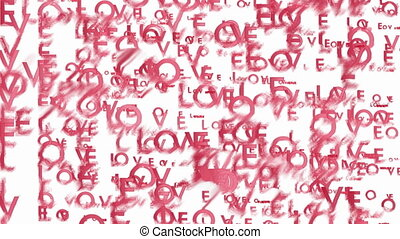 Animated red words Love - Abstract blurred video background...