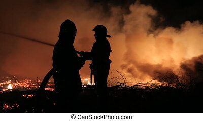 Elimination of a fire in the woods at night - Elimination of...