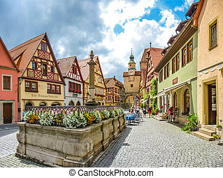 Beautiful view of the historic town of Rothenburg ob der...