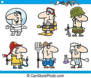 people occupations characters set - Cartoon Illustration of...