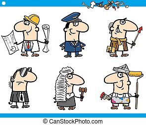 cartoon occupations characters set - Cartoon Illustration of...
