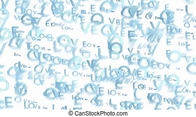 Animated light blue words Love - Abstract blurred video...