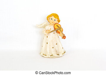 Figurine of angel on white background