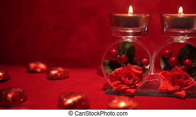 Valentines Day Candles and Candies 4K - Valentine Day...