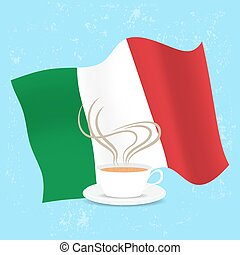 Cup of coffee and flag Italy