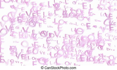 Animated pink words Love - Abstract blurred video background...