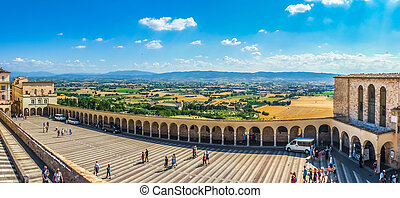 Lower Plaza near famous Basilica St Francis of Assisi, Italy...