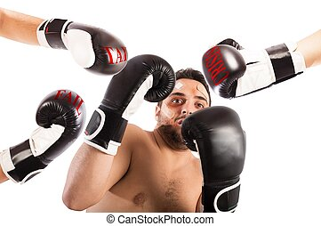Failed boxer as businessman - Frightened man boxer with...