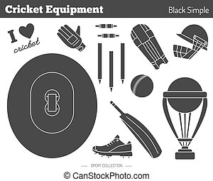 Vector cricket game design elements - Collection of cricket...
