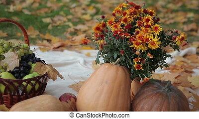 Fruit Basket and Pumpkins
