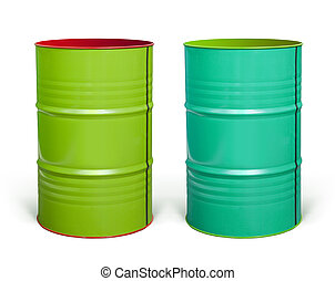 steel barrels with paths - two coloured steel barrels on...