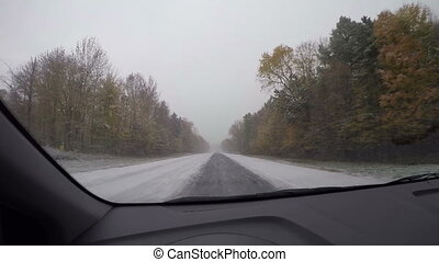 Snow driving time lapse in Vermont