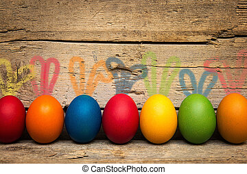 funny easter eggs with rabbit ears - funny colorful easter...