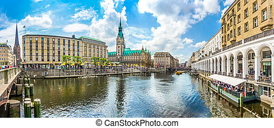 Hamburg city center with town hall and Alster river, Germany...