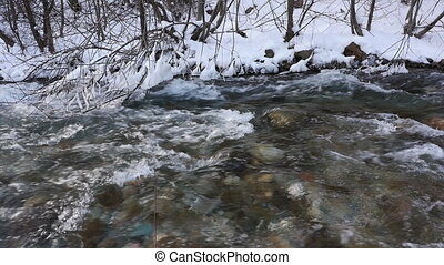 River in snowy forest, Montenegro