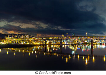 Marquam Bridge over Willamette River at Night - Marquam...