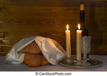 Shabbat Shalom - wine, challah and candles - Shabbat Shalom...
