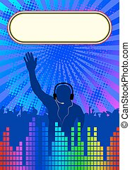 discotheque background with banner and DJ