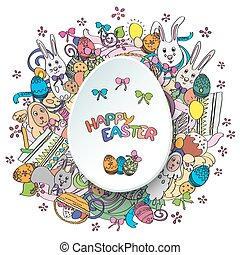 Colorful happy easter greeting card in vector
