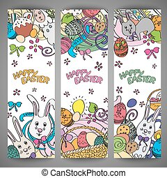 Set of creative multi colour vector banners for Happy Easter...