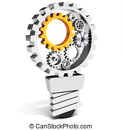 3d light bulb with gears and cogs working together on white...