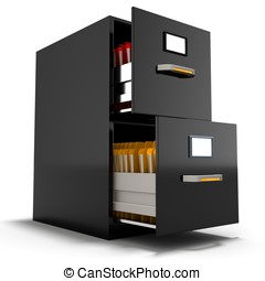 3d file cabinet with files