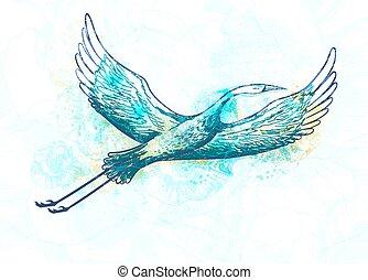 Abstract stork bird flying. Vector illustration, EPS10.