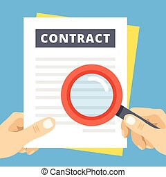 Contract review flat illustration. Hand with magnifier over...