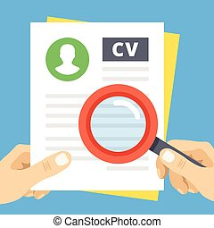 CV review flat illustration Hand with magnifying glass over...