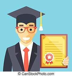 Graduated man with diploma in his hand Flat illustration...