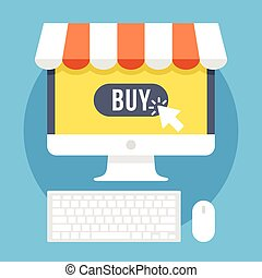Online shopping and e-commerce flat