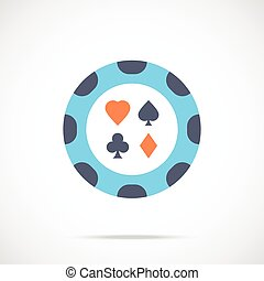 Vector casino chip icon Flat poker chip icon Flat design...