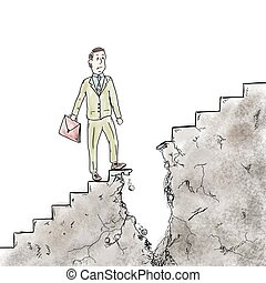 Difficulties and obstacles in career - Man walking on the...