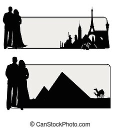couple illustration with famous monument